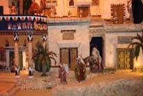 """Pasaje de la """"Huida a Egipto"""", que se muestra en al exposición """"El tiempo de Jesús"""", dentro de la escenografía realizada de esta civilización."""