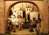Detalle de una puerta del recinto amurallado de la ciudad de Jerusalén, en el montaje del belén del año 2006.