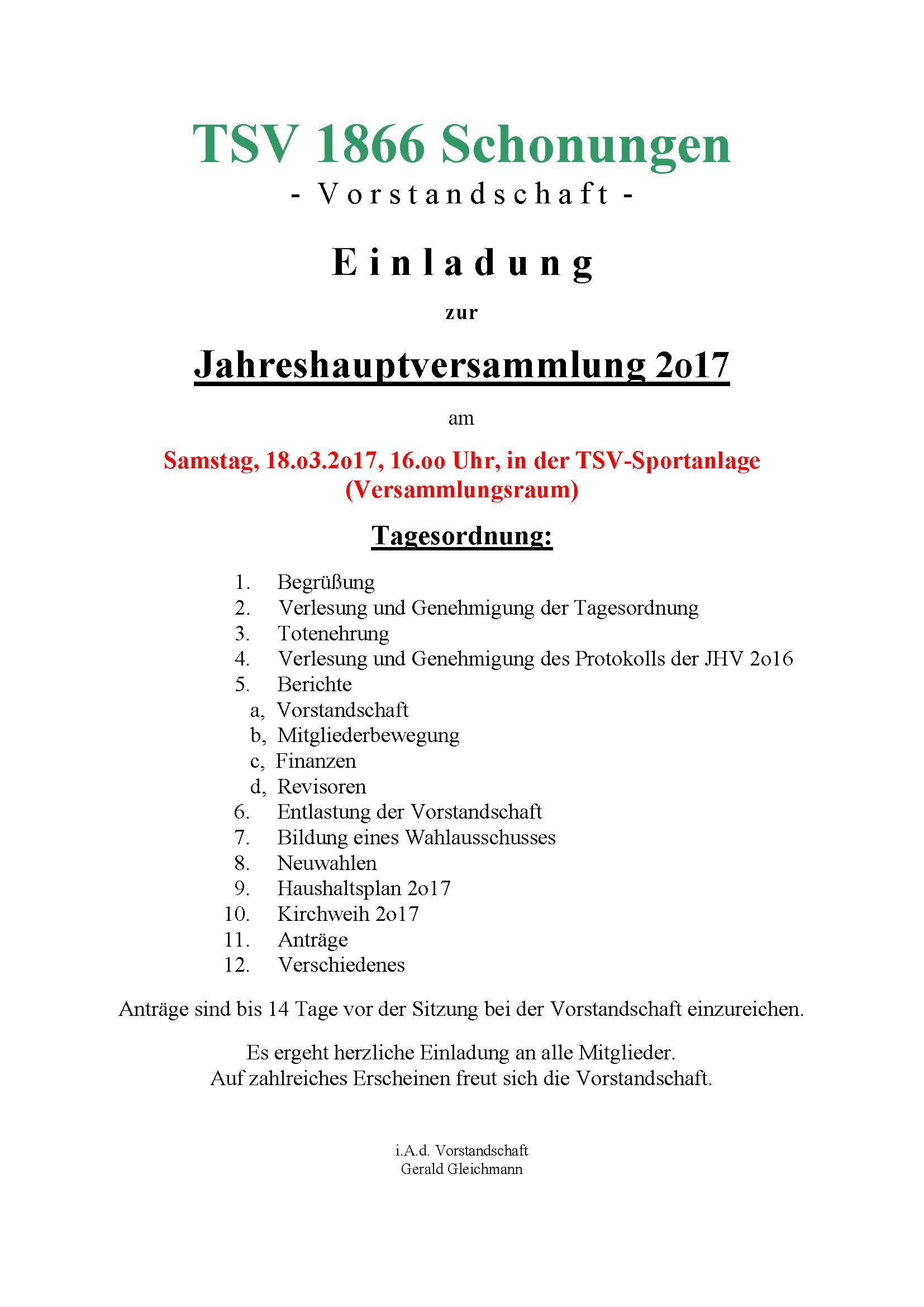 TSV 1866 Schonungen - Einladung zur Jahreshauptversammlung 2017