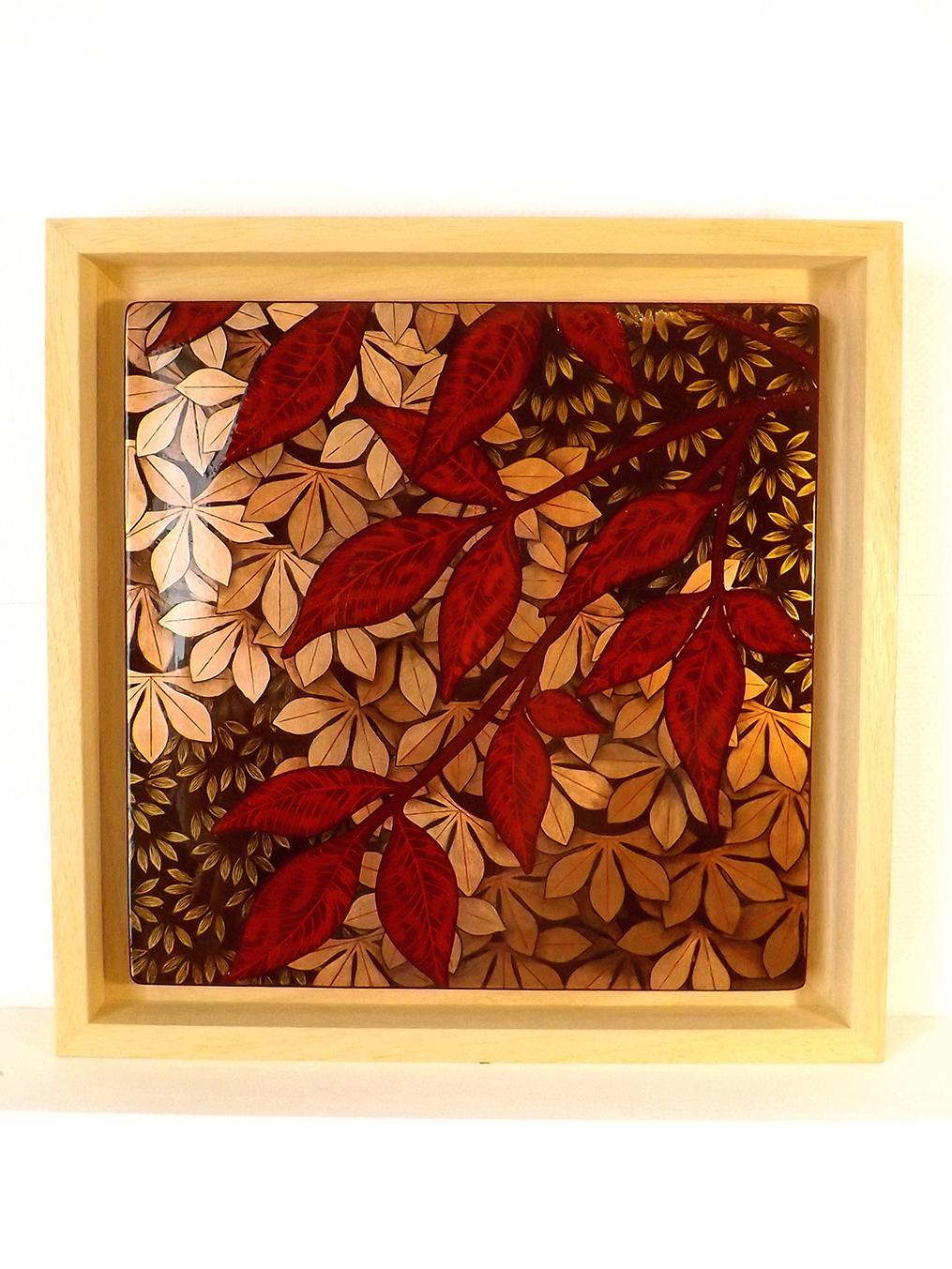 Jardin secret, 30x30 cm, 2020, laque sur bois avec pigments et bronzines