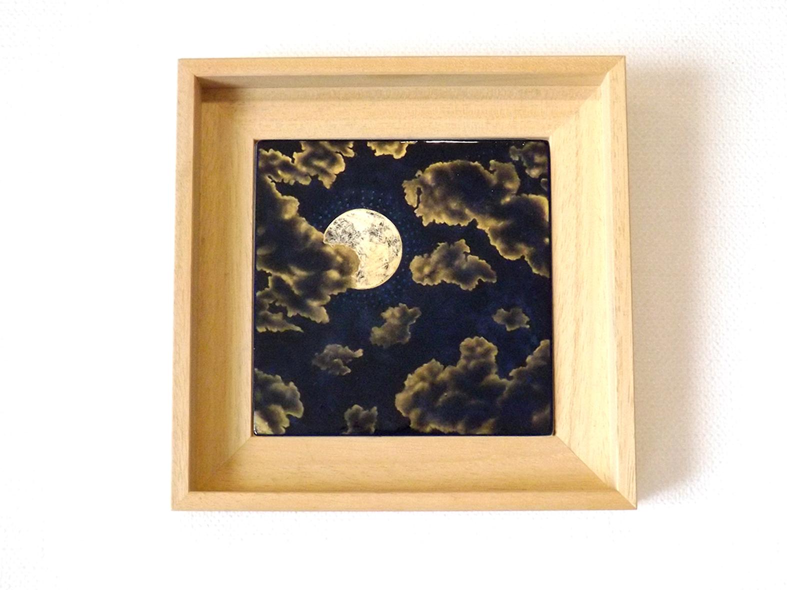Ad Astra, 15x15 cm, 2020, laque sur bois avec pigments, bronzines et feuilles d'argent