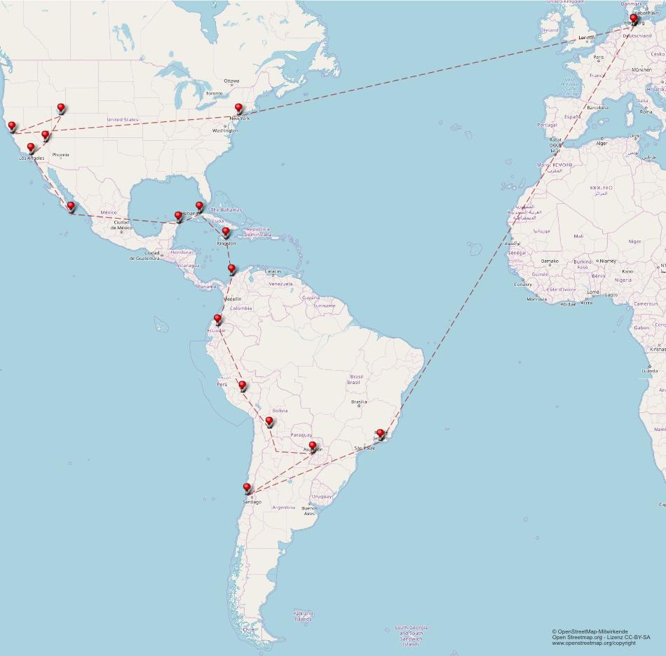 Weltreise Reiseroute