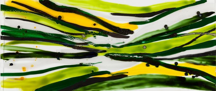 Monika Humm, Malerei auf Floatglas 2, 2013, 30x71x0,5cm