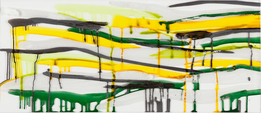 Monika Humm, Malerei auf Floatglas 1, 2013, 30x71x0,5cm