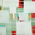 Monika Humm, abstrakte Acrylmalerei, Gitterstrukturen, Rot leuchtet hinter milchigen blau-grün-Tönen hervor