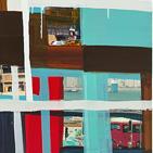 Monika Humm abstrakte Malerei in Mischtechnik aus der Global-Hongkong Serie