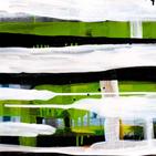 Monika Humm abstrakte Malerei, landschaftliche Strukturen in grün, weiss, schwarz