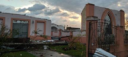 Il tempio valdese distrutto dal tornado