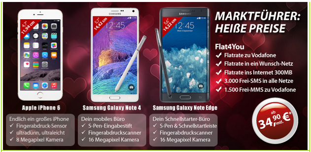galaxy note 4 edge oder iphone 6 im flat4you free. Black Bedroom Furniture Sets. Home Design Ideas