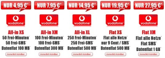 Auswahl der Handytarife ohne feste Vertragslaufzeit von Vodafone