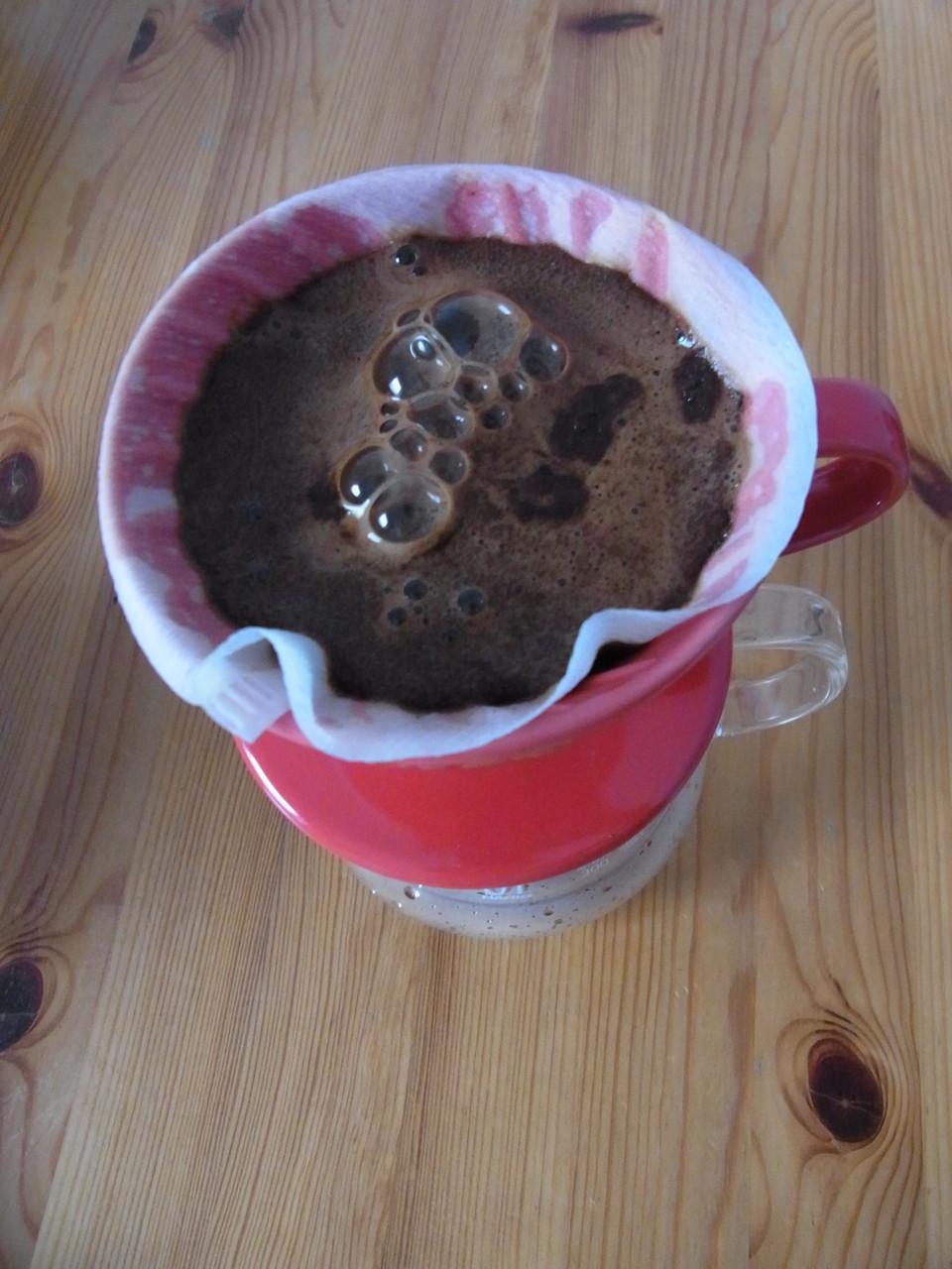 """Präinfusionsphase, Blooming (""""aufblühen"""") genannt - Das Anfeuchten des Kaffeemehls"""