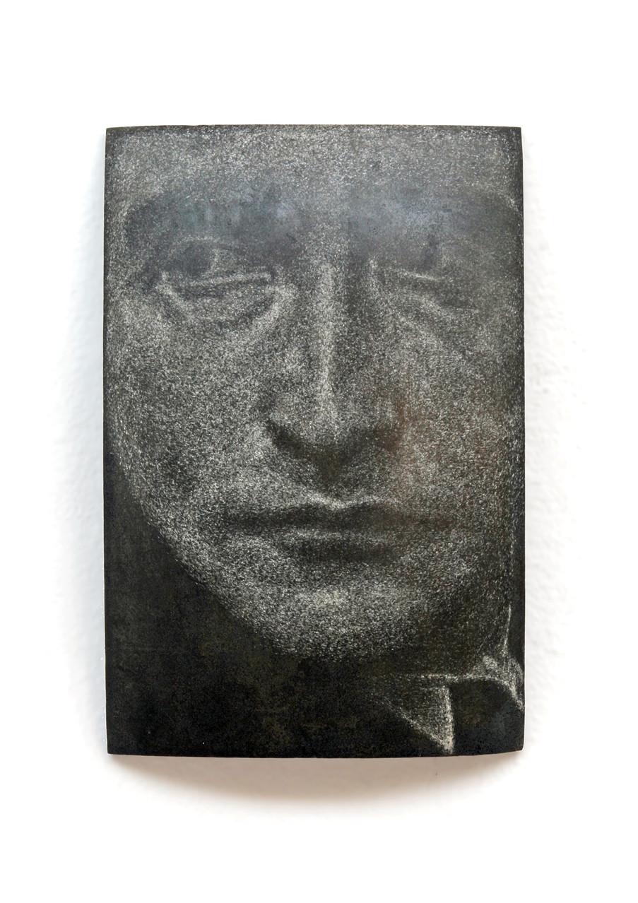 """Duchamp"", Beton/Gravur,  36 x 24 x 9, 2014"
