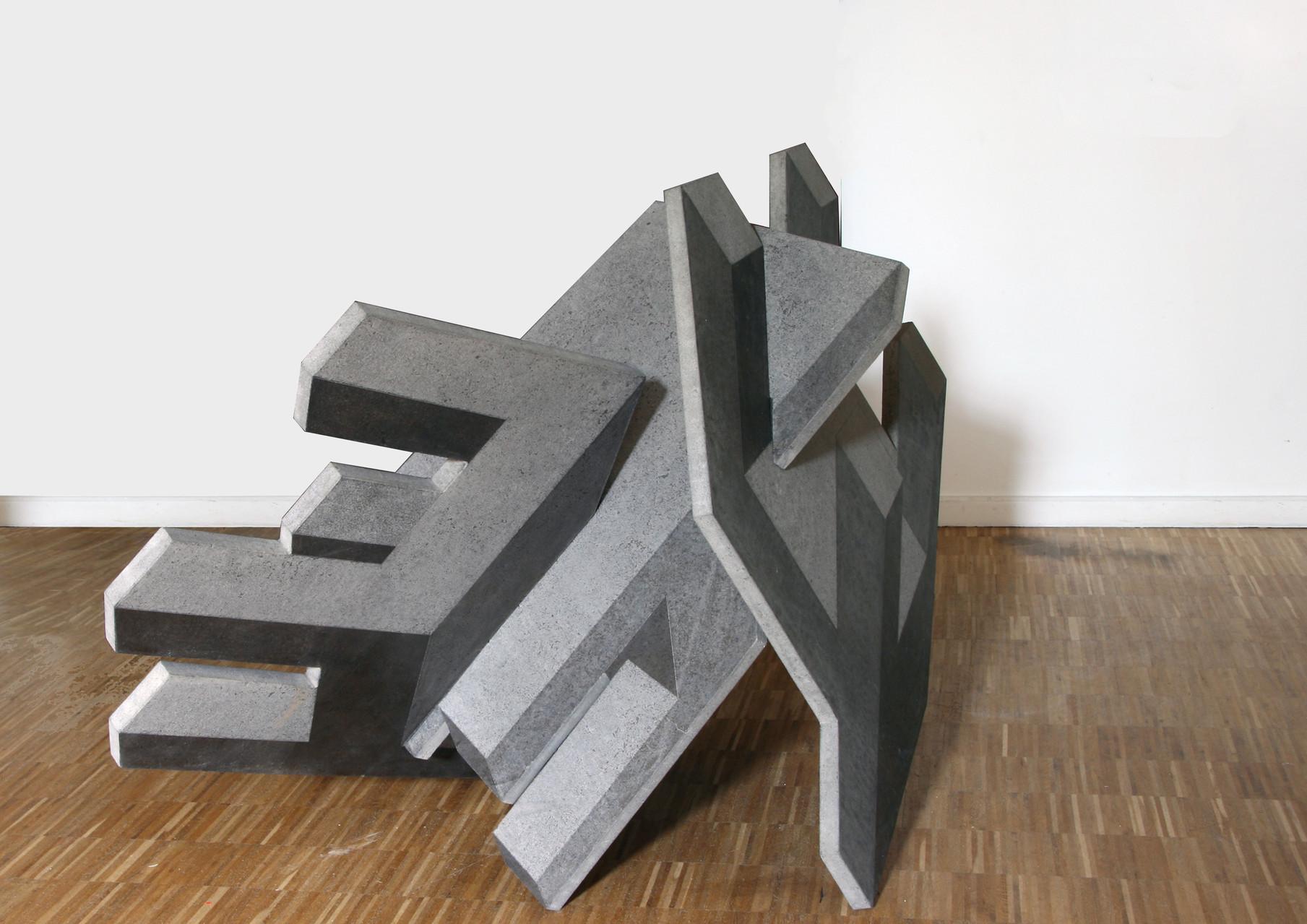 """""""o.T.""""(dreiteilig), Beton / unterschiedlicher Schliff, 105 x 138 x 98, 2012"""
