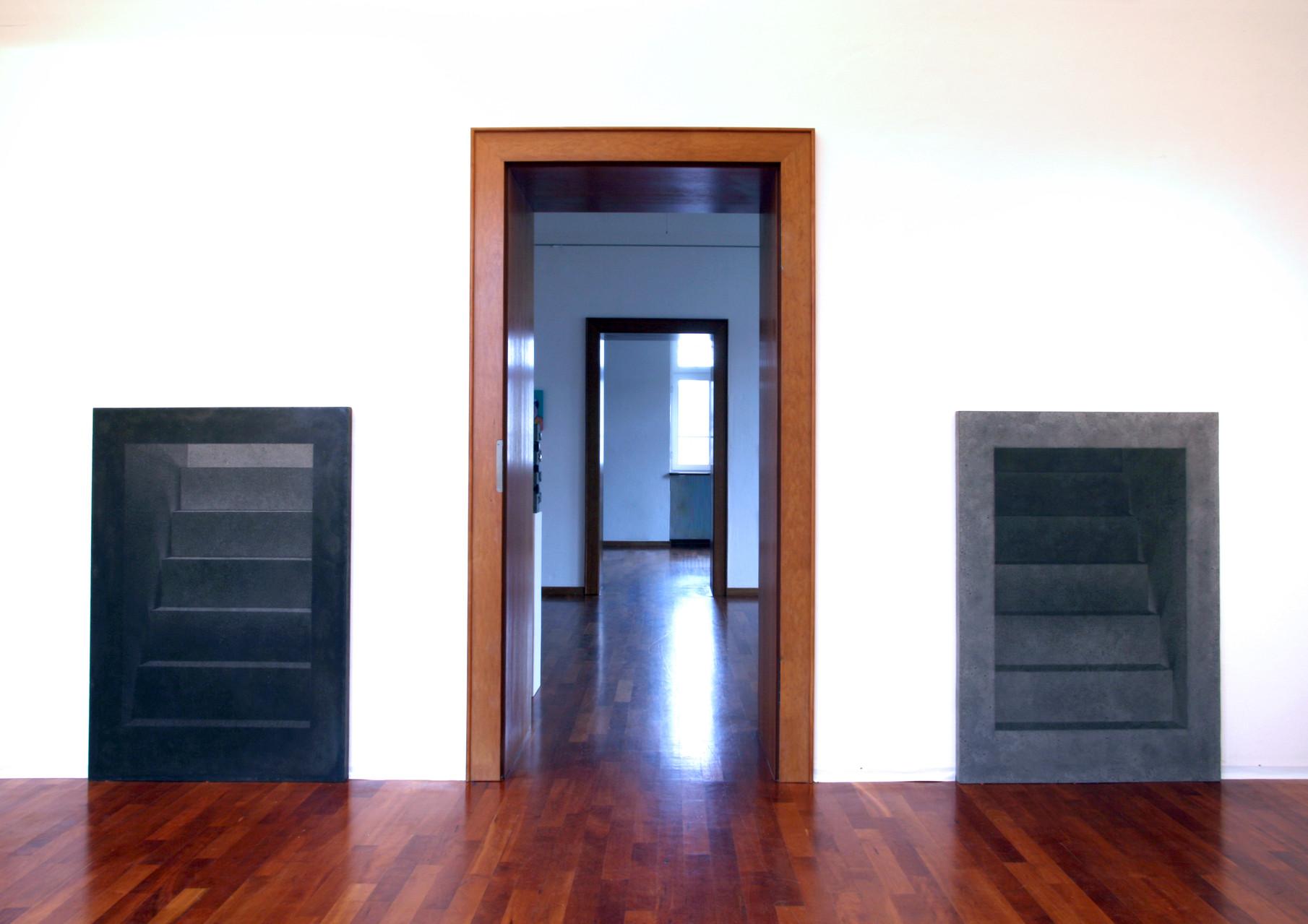 """""""Zugang l"""", Betonplatte/Gravur, 123 x 90 x 5,  2008  -                                                      """"Zugang ll"""", Betonplatte/Gravur, 123 x 90 x 5,  2008"""