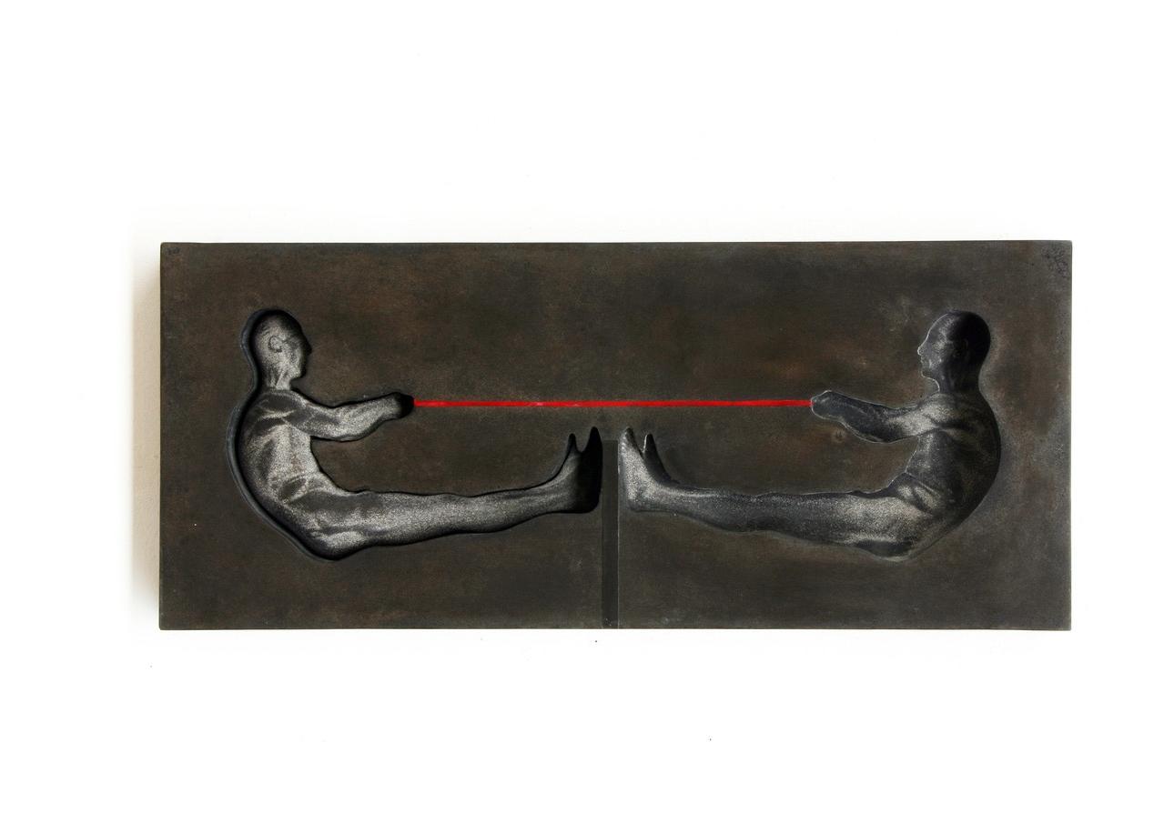 """Positiv - Negativ"", Beton / Gravur / Pigmente / Akepox, 100 x 50 x 8, 2012"