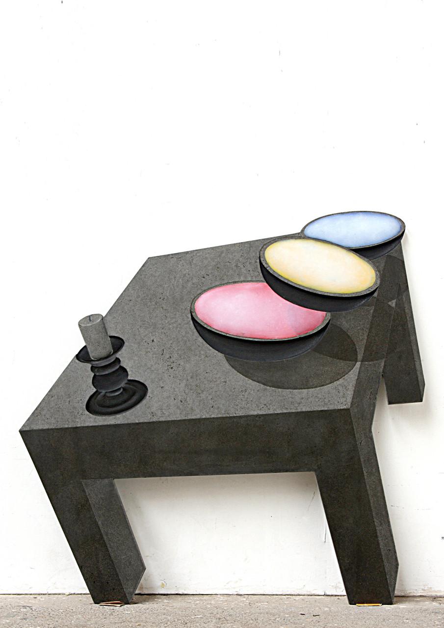 """RGB""  Beton / Gravur / Kunstharz / Pigmente  144 x 150 x 3, 2013"