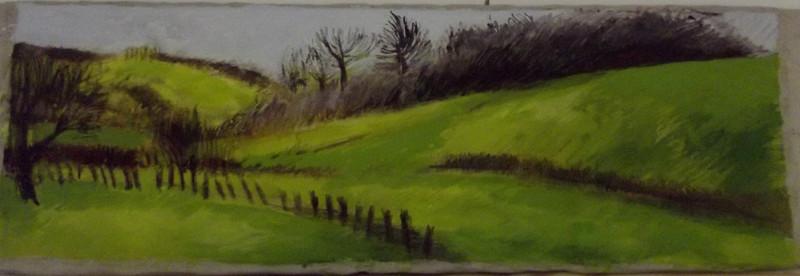Petit jour de printemps, 150 x 50 cm, acrylique, pigments , craies grasses sur toile, 2012