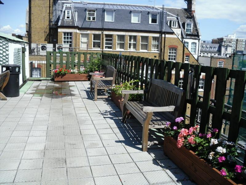 ロンドンのメイン校の屋上ガーデン