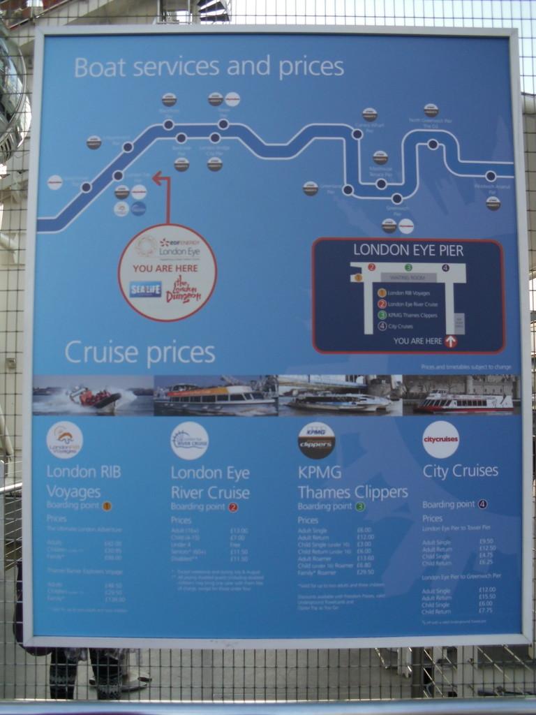ロンドン・アイ前のテムズ川周遊ボート案内4