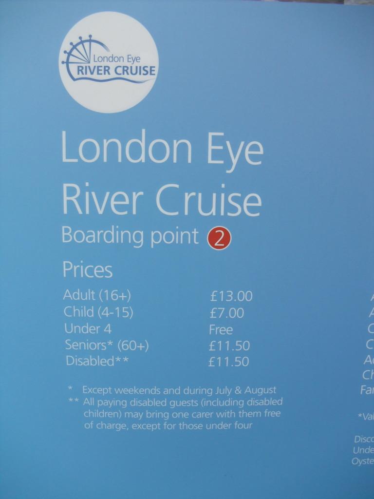 ロンドン・アイ前のテムズ川周遊ボート案内7