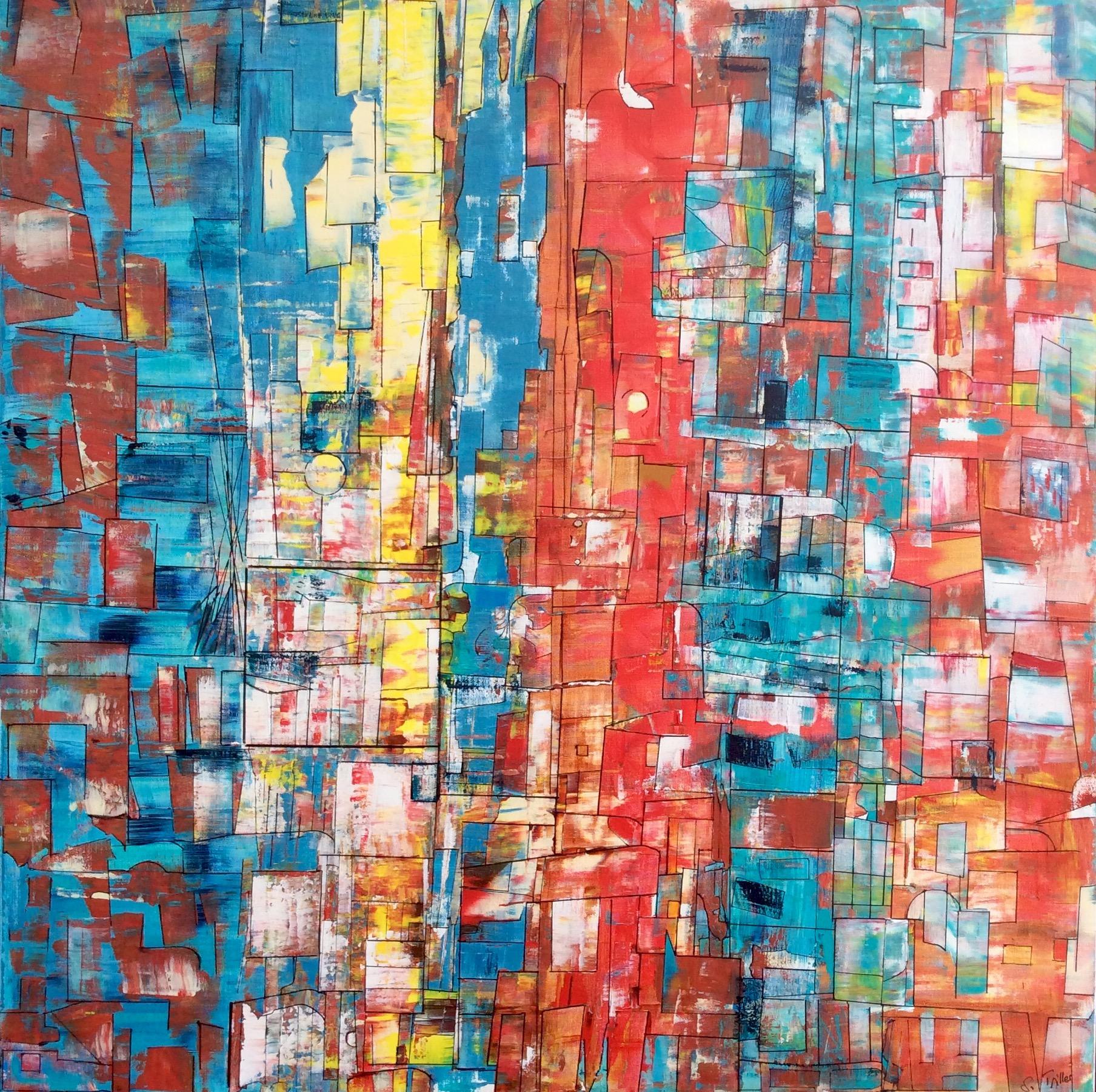 """""""Survol""""- acrylique sur toile (80x80)- Sylvie Trilles Fontaine"""