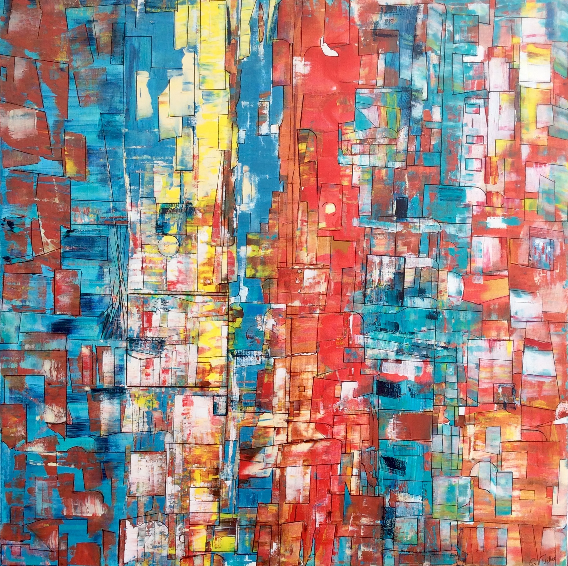 """""""Survol"""", acrylique sur toile 80x80cm- Sylvie Trilles Fontaine"""