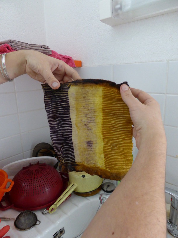 Déroulage de shiboris ligaturés sur tubes