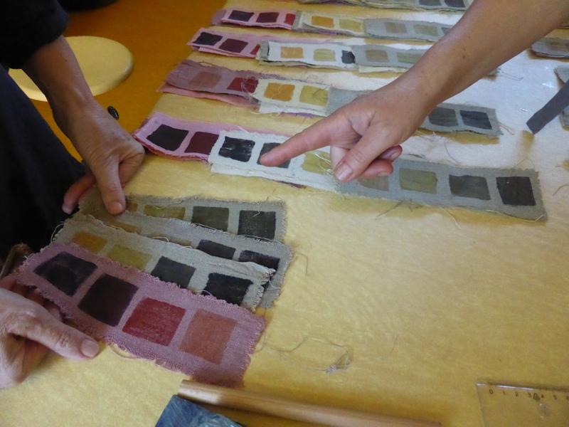 Echantillonnage des coloris obtenus dans différents bains de plantes