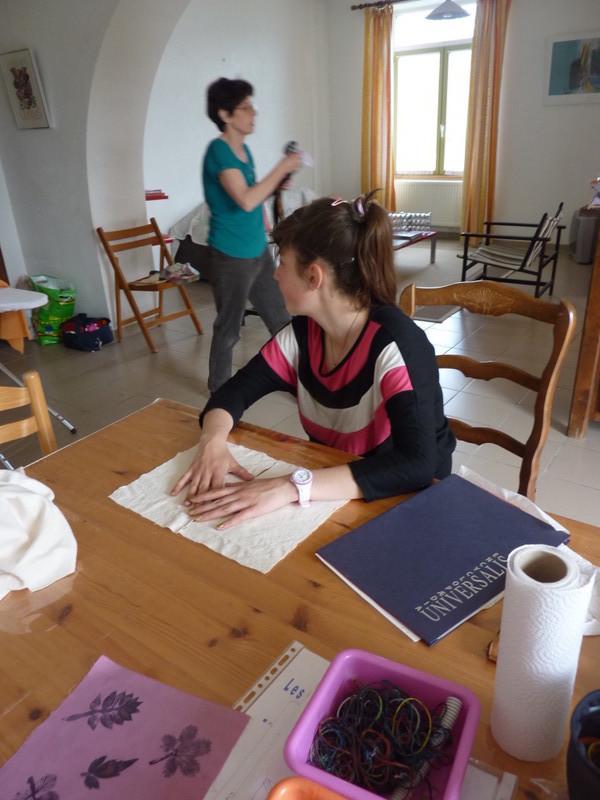 Préparation de fonds en teinture shibori et en impression au tanin