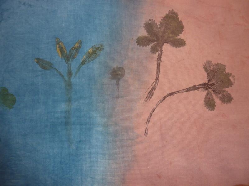 Journée impression de feuilles à tanin et bains colorés pour les fonds