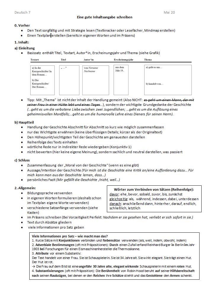 Deutsch Arbeitsmaterialien Beispiele Ubungen 4teachers De 14