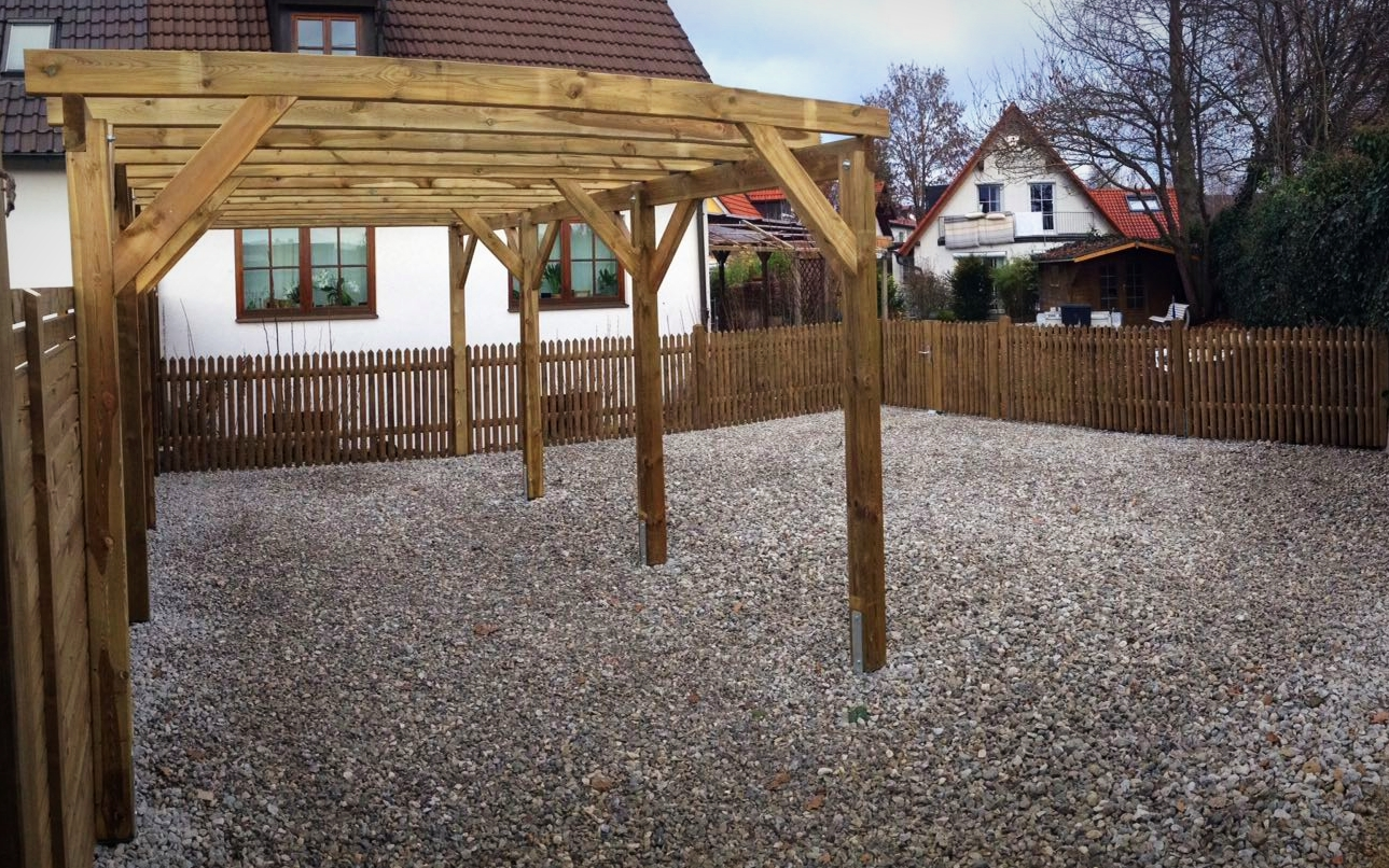 Carport Garten Terrasse Zaun Bodenbelage