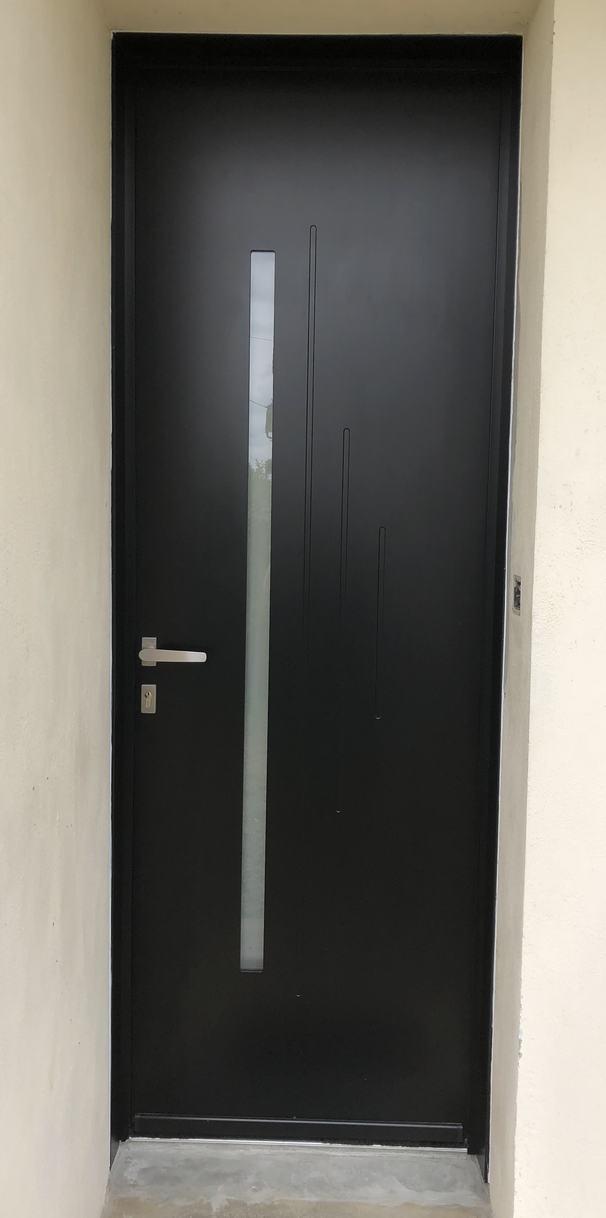 porte d'entrée noir (ral 9005) moderne