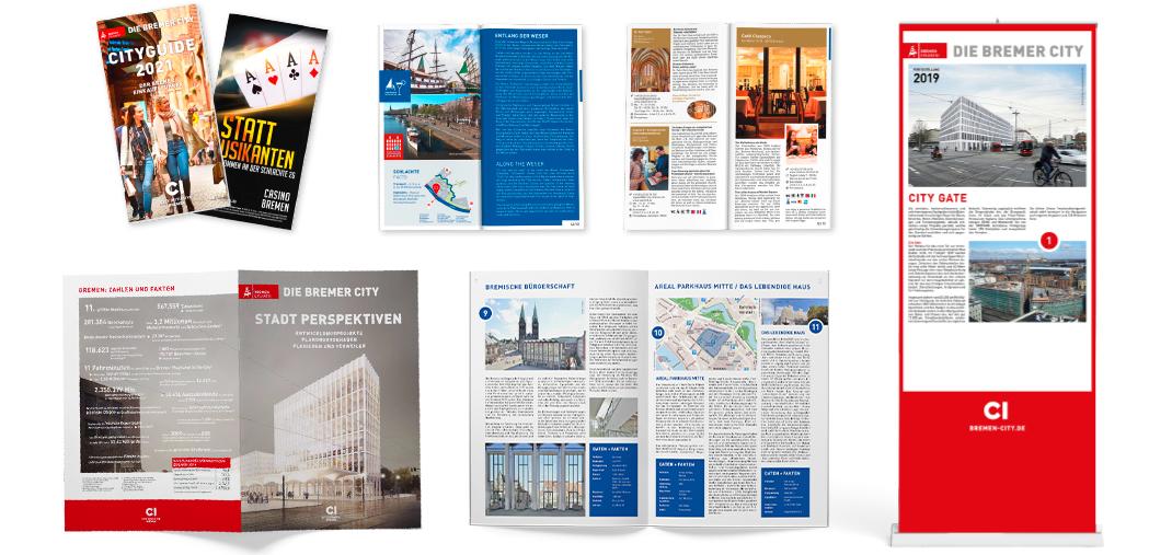 Klassische Printprodukte für die CityInitiative Bremen