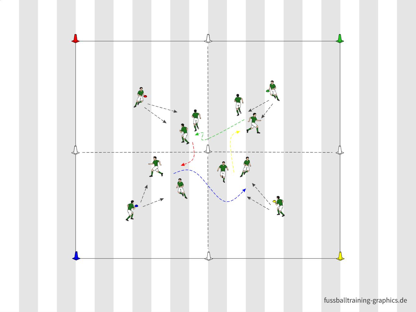 Fangspiel: 4 Farben-Roulette