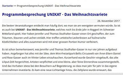 Bericht Programmbesprechung Unikat - das Weihnachtsvariete