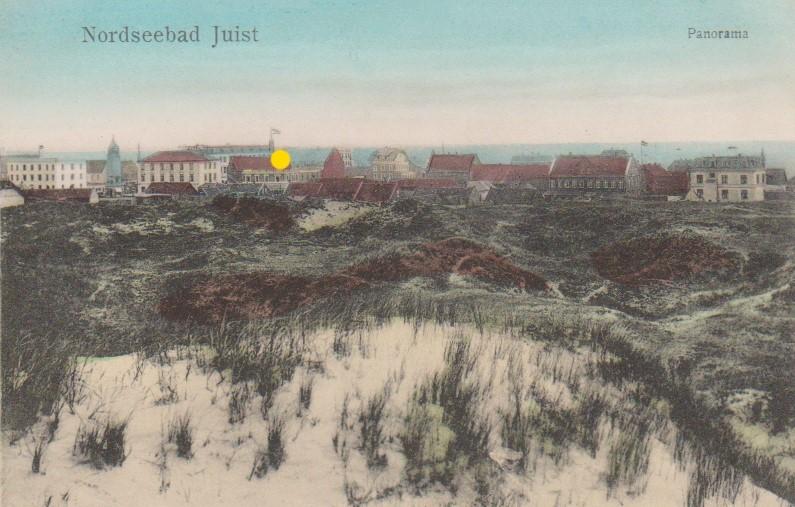 """Sommer 1910 Dorfansicht , der """"gelbe"""" Punkt zeigt das HOTEL Worch."""