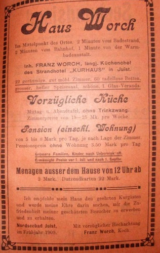 Seite aus dem Inselprospekt  von 1909