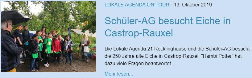 Schüller-AG besucht Eiche in Castrop-Rauxel - Lokale Agenda 21 für Recklinghausen