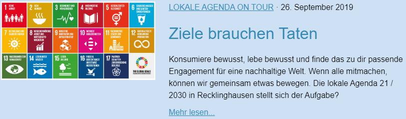 Ziele brauchen Taten - Lokale Agenda 21 für Recklinghausen