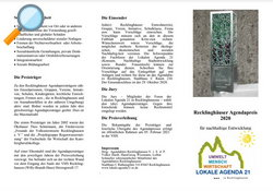 Flyer - Recklinghäuser Agendapreis 2020 - Lokale Agenda 21 Recklinghausen
