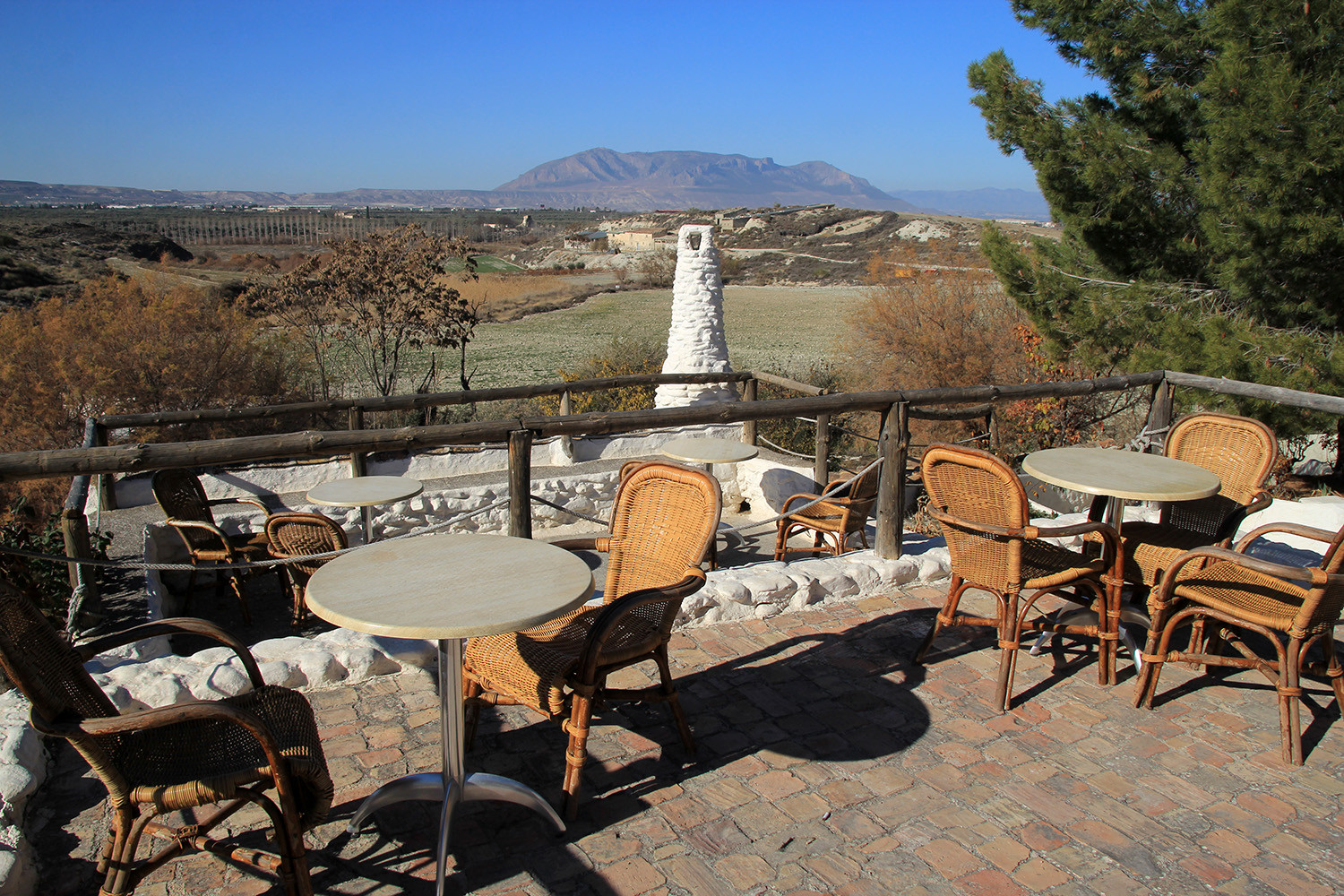 The terrace of the cave restaurant