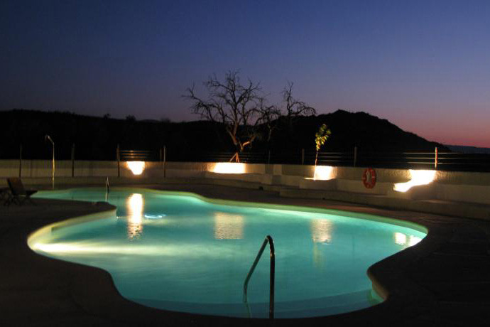 The common swimming pool at night