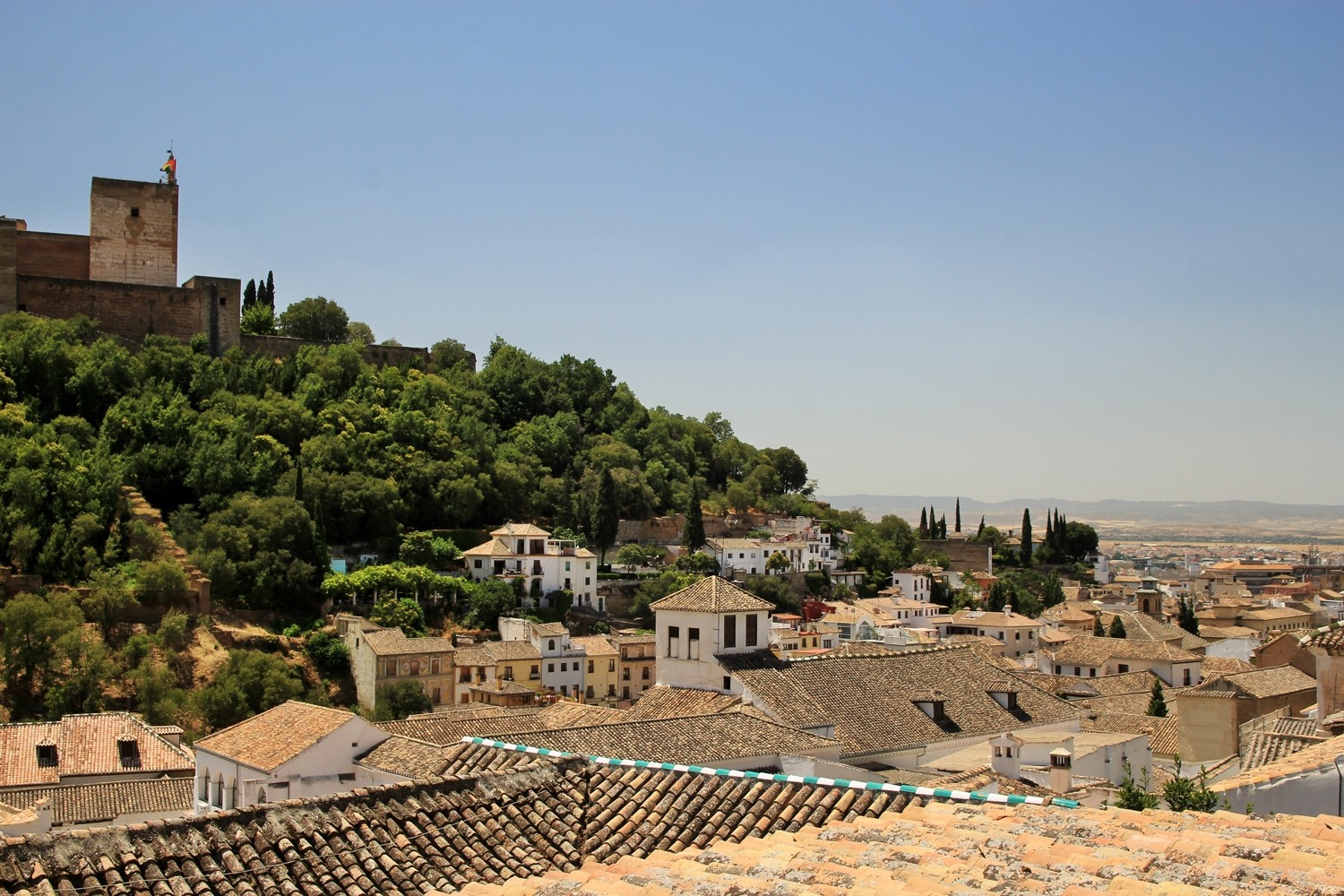 View on the Alhambra from the roof terrace