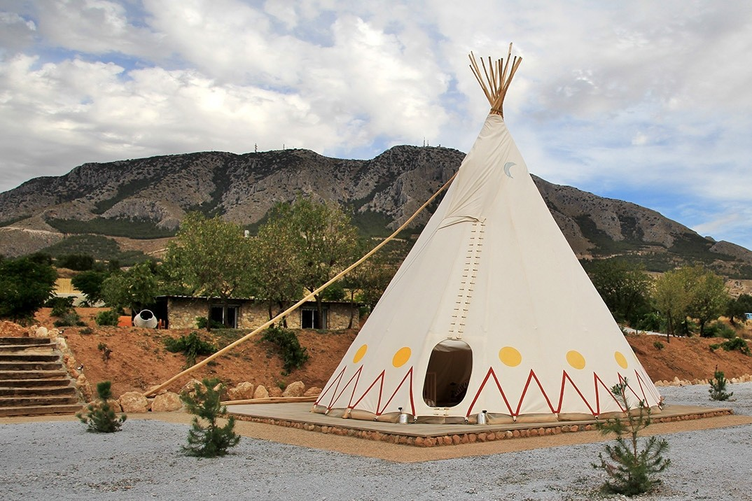 View on the front of the teepee
