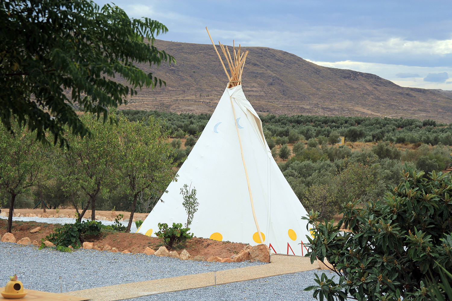 View on the back of the teepee