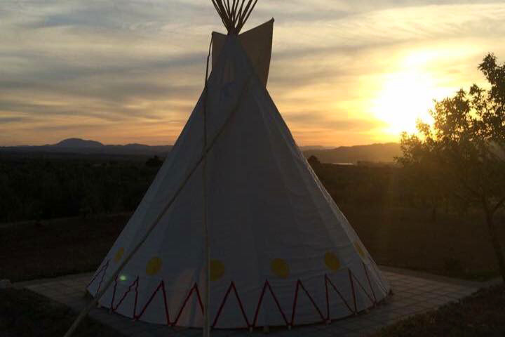 The teepee at sunset