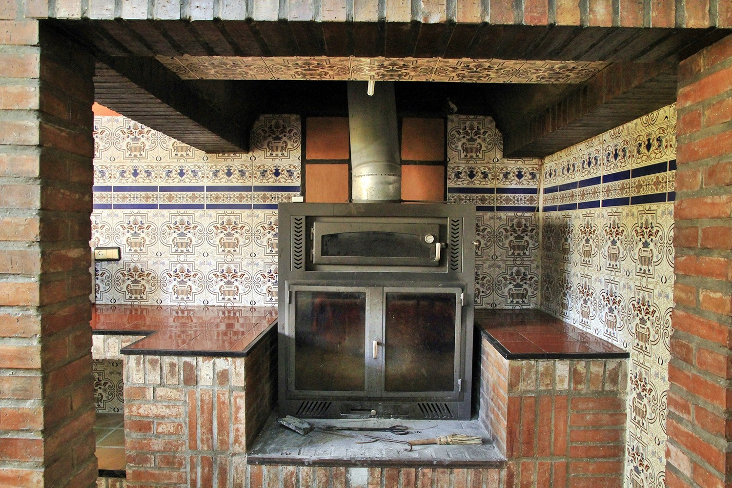 The wood stove in the kitchen