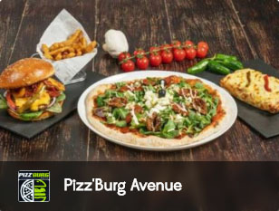 pizz'burg, pizza, burger, tacos