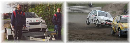 Fotos unten: Vater und Sohn im Jahr 2002 // Rallycross Buxtehude 2003